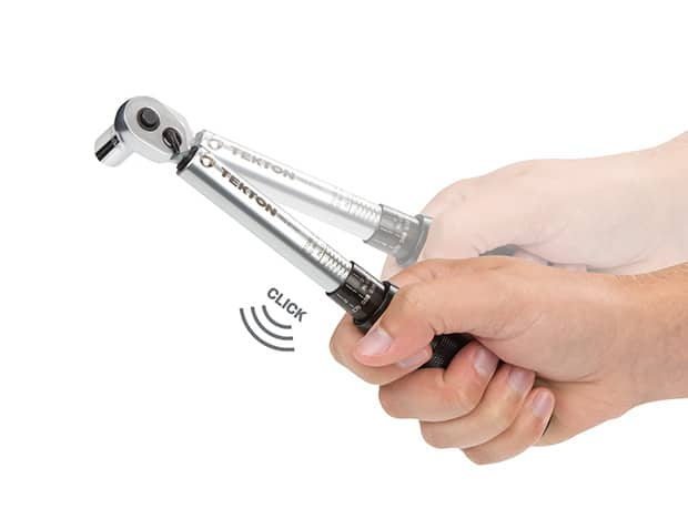 Image of TEKTON wrench with visual illustration of clicking sound