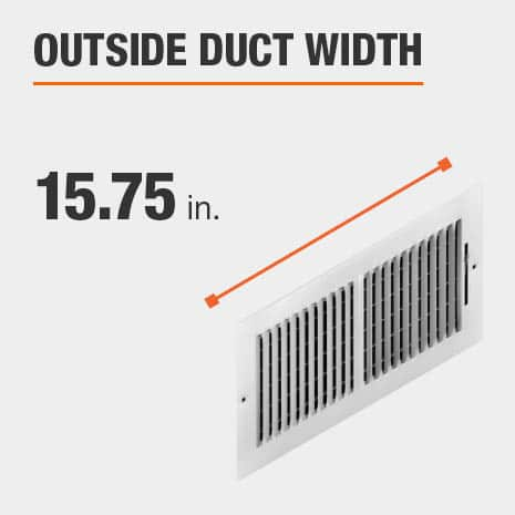 The outside duct width is 15.75 inches.