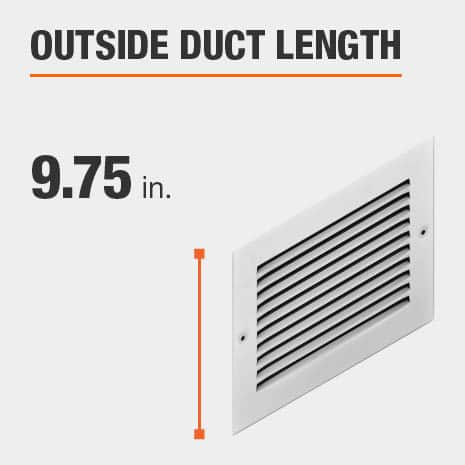 The outside duct length is 9.75 inches.