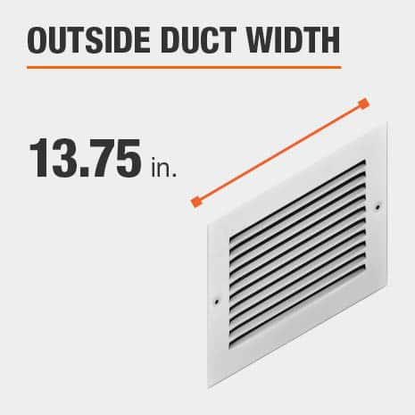 The outside duct width is 13.75 inches.