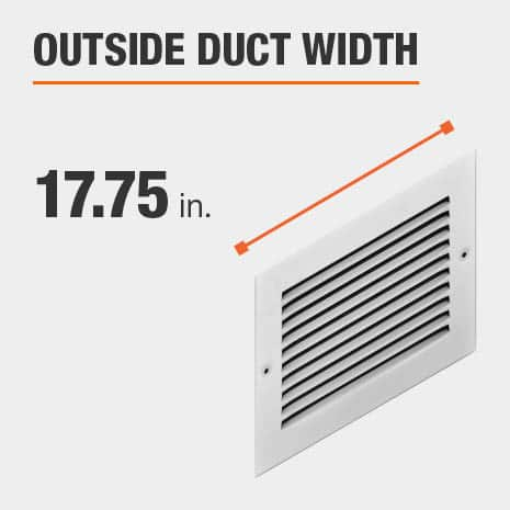 The outside duct width is 17.75 inches.