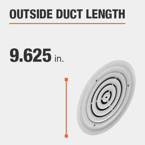 The outside duct length is 9.625 inches.