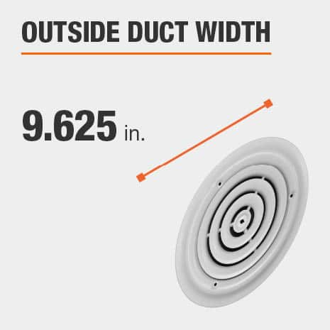 The outside duct width is 9.625 inches.