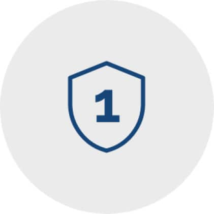 Blue icon line drawing of a protection shield with the numeral one inside it to represent a 1-year limited warranty.
