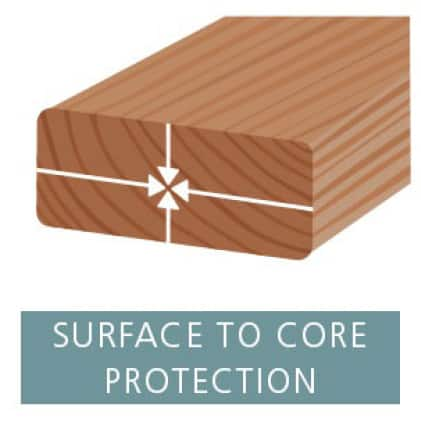 Illustration showing how AuraLast protects wood from surface to core to protect against wood rot, water damage, and termites