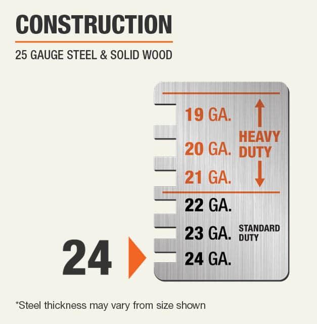 24 Gauge Steel & Solid Wood Construction