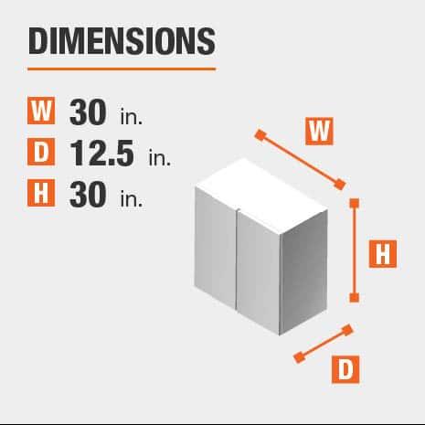 Cabinet dimensions are 30 in. H x 30 in. W