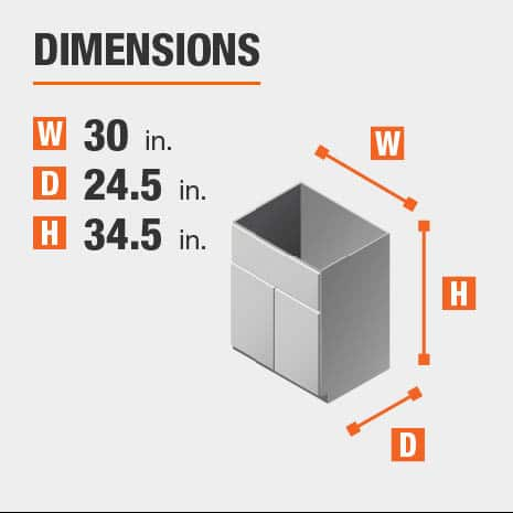 Cabinet dimensions are 34.5 in. H x 30 in. W