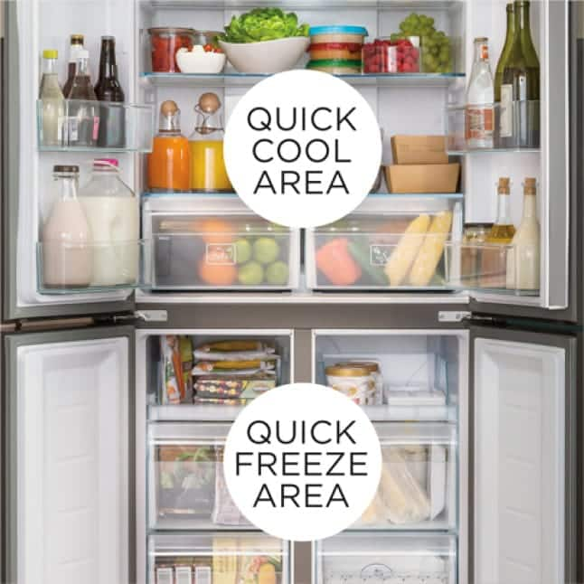 Image of all 4 doors open on the refrigerator with overlays on the Quick Cool and Quick Freeze areas.