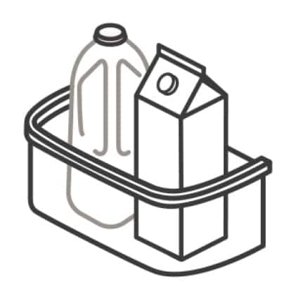 An icon of the bins. A jug and carton of liquid sit inside the bins