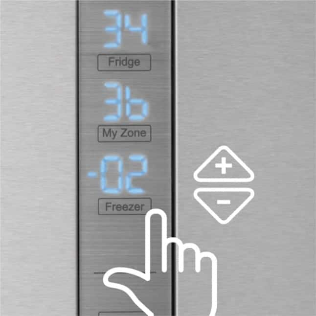 Tight shot showing control panel with fridge, my zone, and freezer temperatures.
