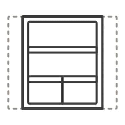 An icon of the inside of the refrigerator. Dashed lines depict both ways the door can be arranged.
