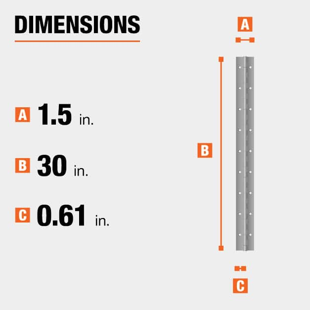 30 inch height x 1.5 inch width x 0.61 inch  leaf width hinge dimensions