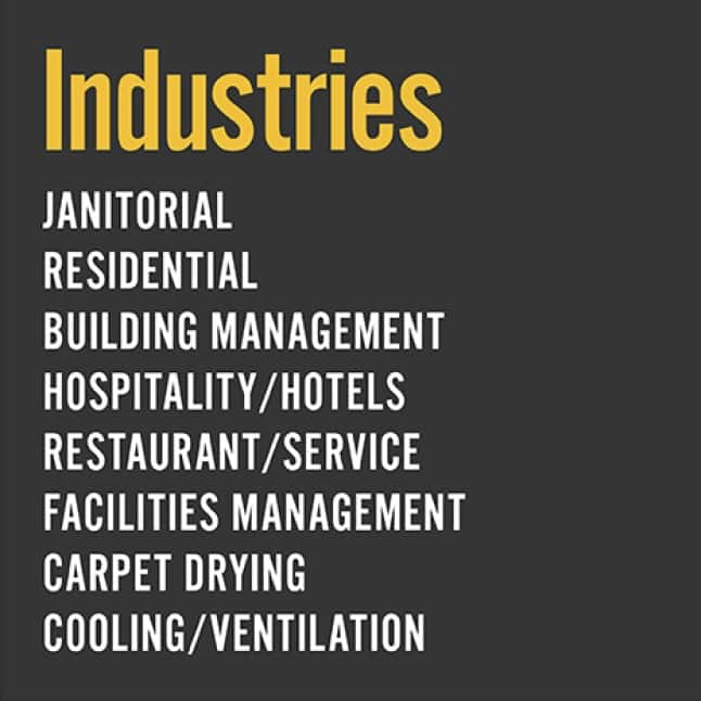 The VP50 is ideal in diverse environments, including janitorial, hospitality, restaurant service, facilities, carport drying and residential settings.