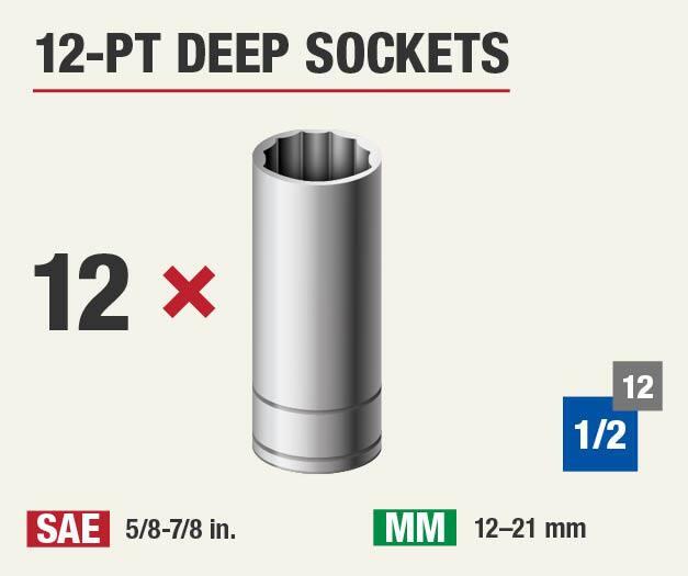 Set includes 12 twelve point sockets