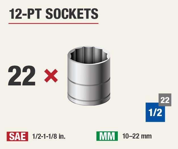 Set includes 22 twelve point sockets