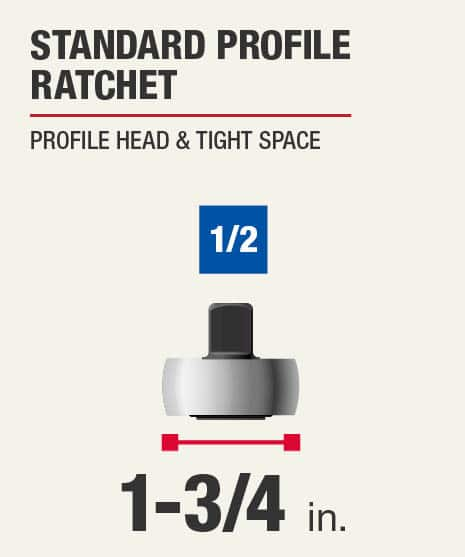 This set includes one standard profile ratchet.