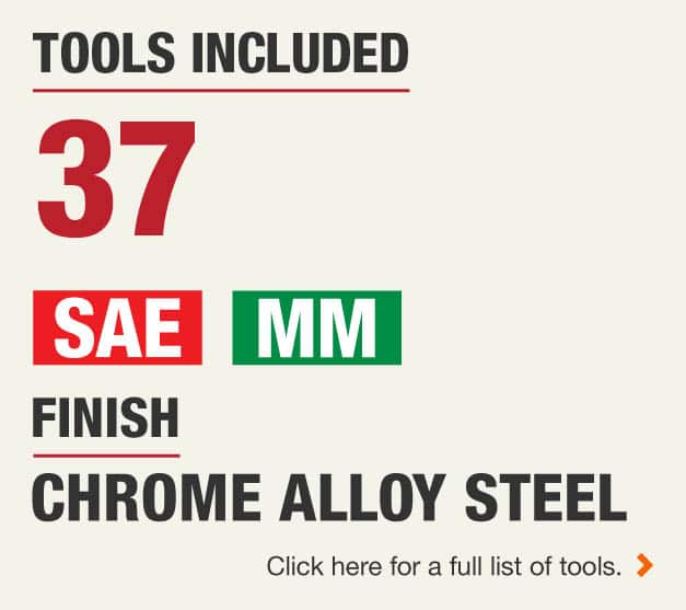 There are 37 tools included in this set, featuring Standard and Metric Measurements with a Chrome Alloy Steel Finish