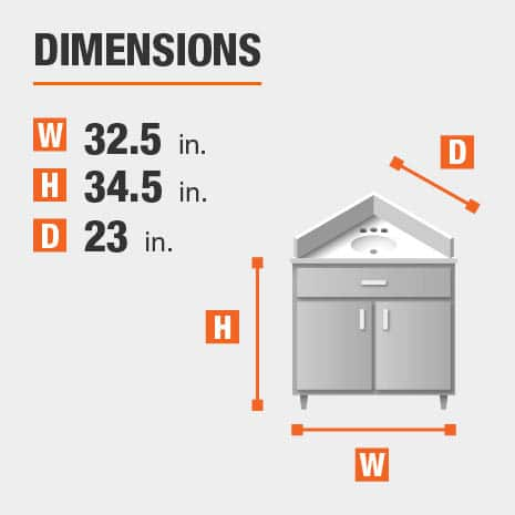 The dimensions of this bathroom vanity are 32.50 in. W x 34.50 in. H x 23.00 in. D