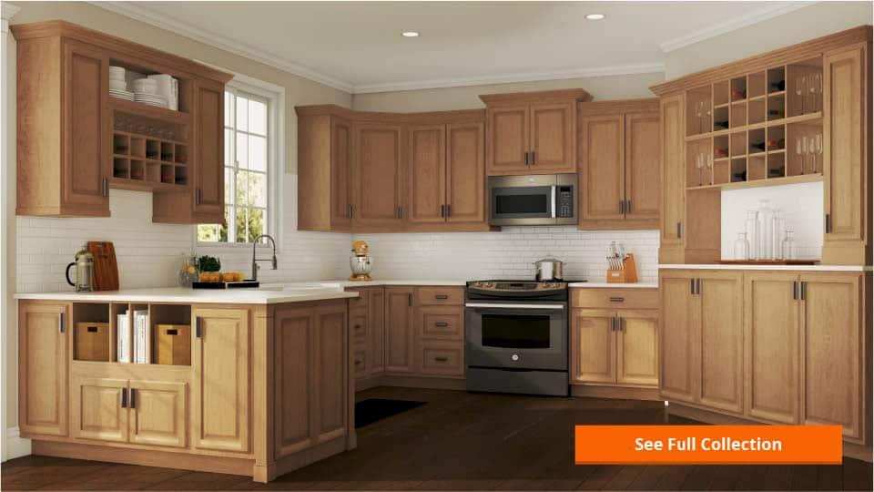 hampton wall kitchen cabinets in medium oak