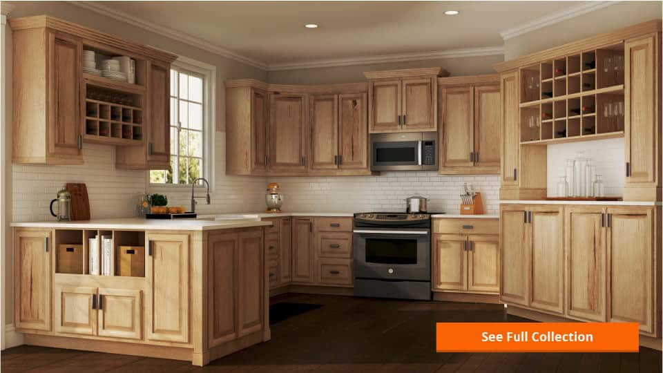 hampton wall kitchen cabinets in natural hickory