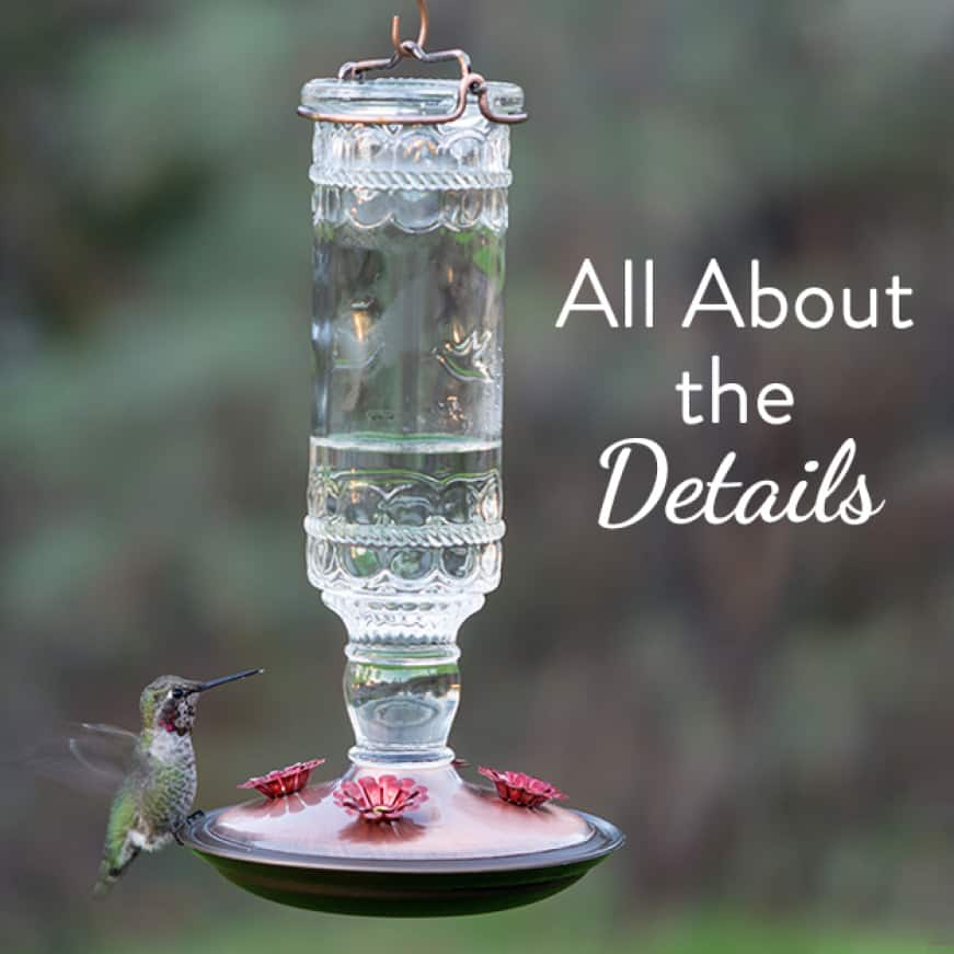 vintage details, decorative glass hummingbird feeders