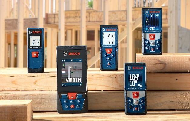 Lineup of Bosch BLAZE laser measuring tools.
