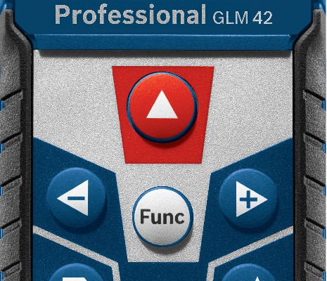 Close up of buttons on Bosch GLM 42.