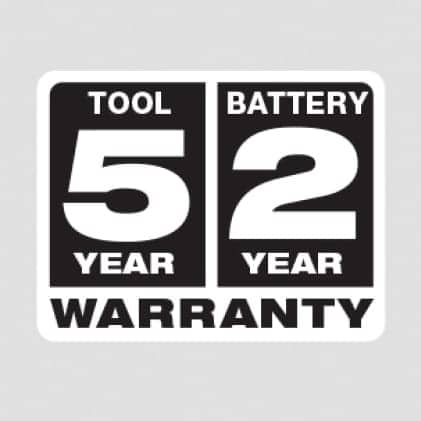 Five Year Tool and Two Year Battery Warranty