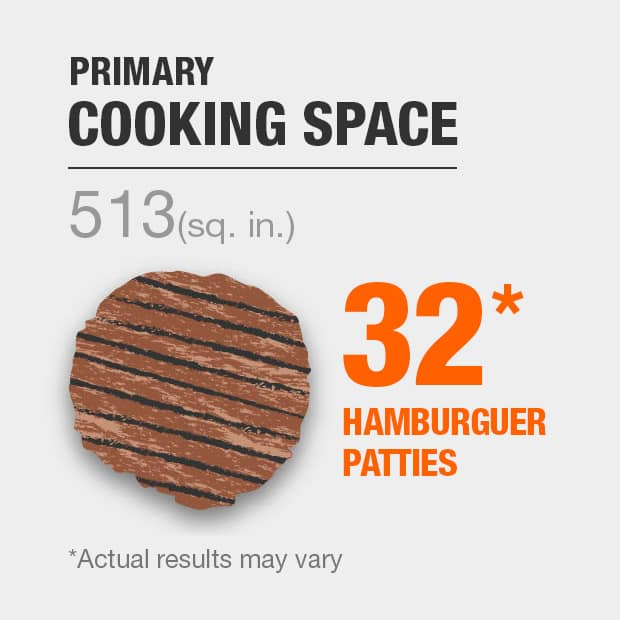 513 sq. in. primary cooking space, fits 25 hamburger patties. Actual results may vary.