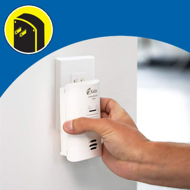 Carbon monoxide alarms can be installed in any outlet
