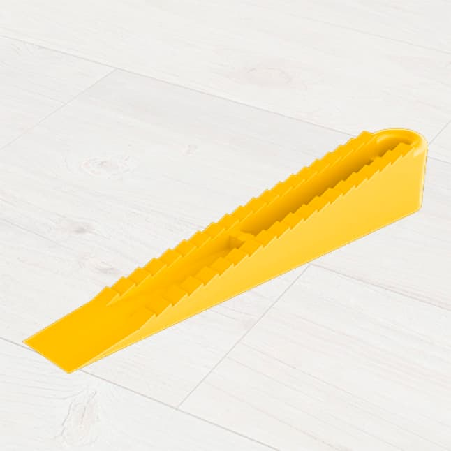 Reusable wedges lock into clips, holding the tile at an even height
