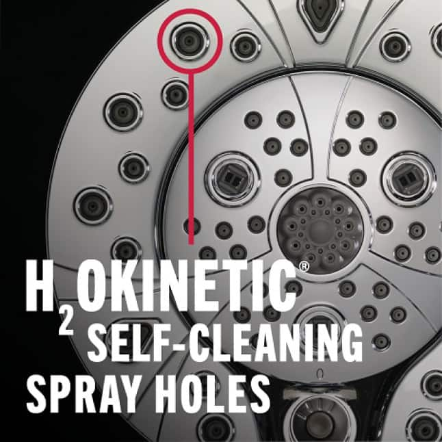 """Image is an up-close view of a showerhead with a red circle highlighting the spray holes with copy """"H2Okinetic Self-Cleaning Spray Holes"""""""