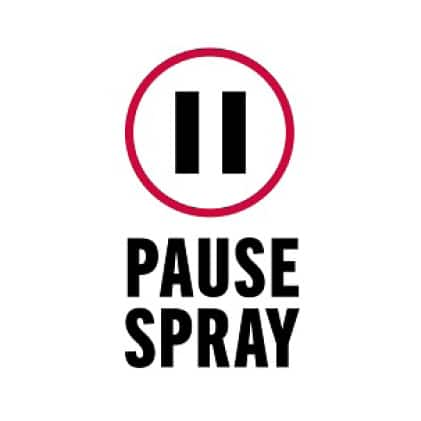 """Image is a black and white line drawing of """"pause"""" symbol with copy """"Pause Spray"""""""