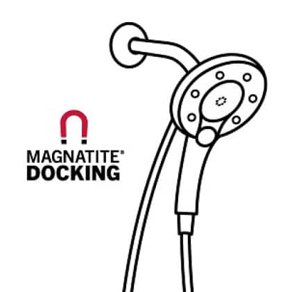 """Image is a black and white line drawing of an In2ition hand shower with copy """"MagnaTite Docking"""""""