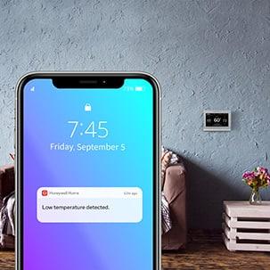 Low temperature detected alert on smartphone