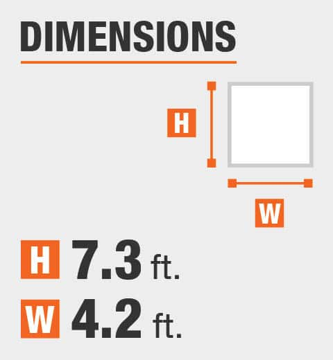 The dimensions are 7.35 ft. Height and 4.2 ft. width