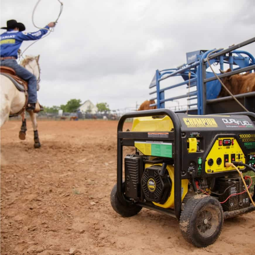 Lifestyle image of generator powering a rodeo