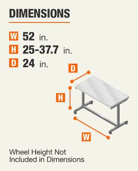 Dimensions 52 inches wide, 25-37.7 inches high, 24 inches deep. Wheel height not included In dimensions.