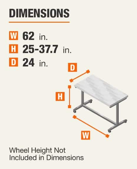 Dimensions 62 inches wide, 25-37.7 inches high, 24 inches deep. Wheel height not included In dimensions.