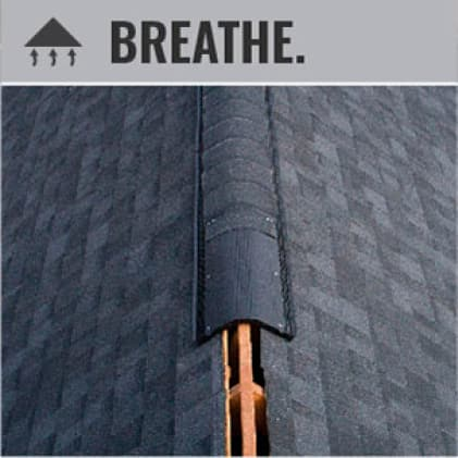 Ventilation at the ridge line on a roof