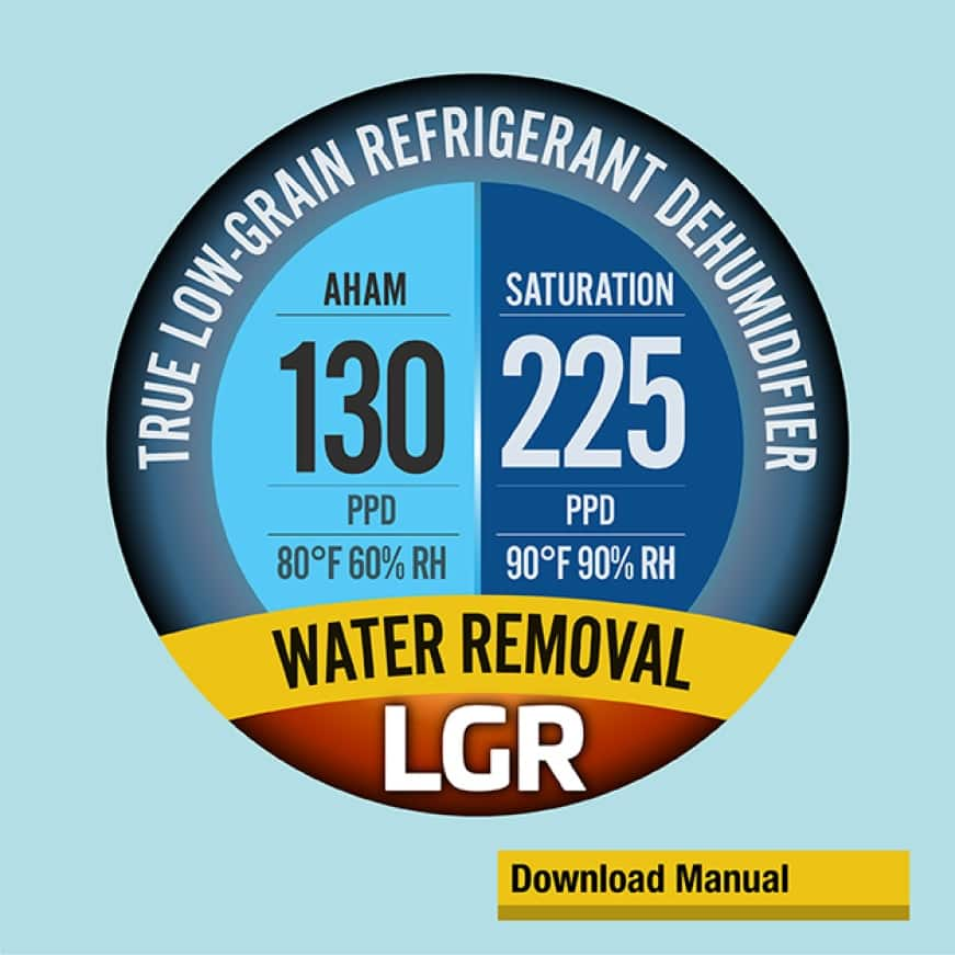 B-Air® LGR-2200 Dehumidifier offers maximum power in removing moisture by lowering the temperature of the moisture filled air before condensation.