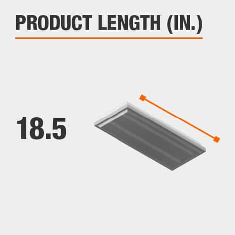 This light fixture has a length of 18.5 inches.
