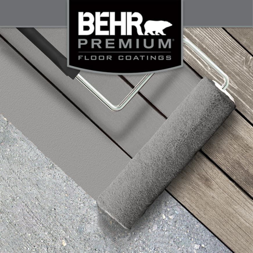 Concrete and adjacent wood floor being coated with BEHR PREMIUM Porch and Patio Floor Paint
