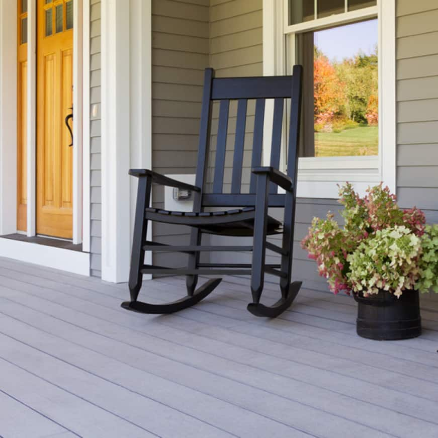 Front wood porch coated with BEHR PREMIIUM Porch and Patio Floor Paint coating
