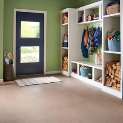 Interior concrete floor coated with BEHR PREMIUM Porch and Patio Floor Paint