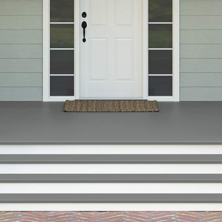 Front concrete porch coated with BEHR PREMIUM Porch and Patio Floor Paint