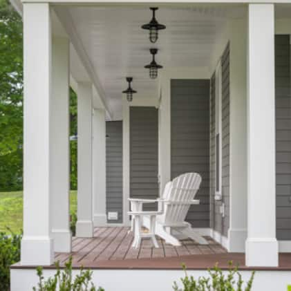 Exterior shot showing molding and trim painted in white