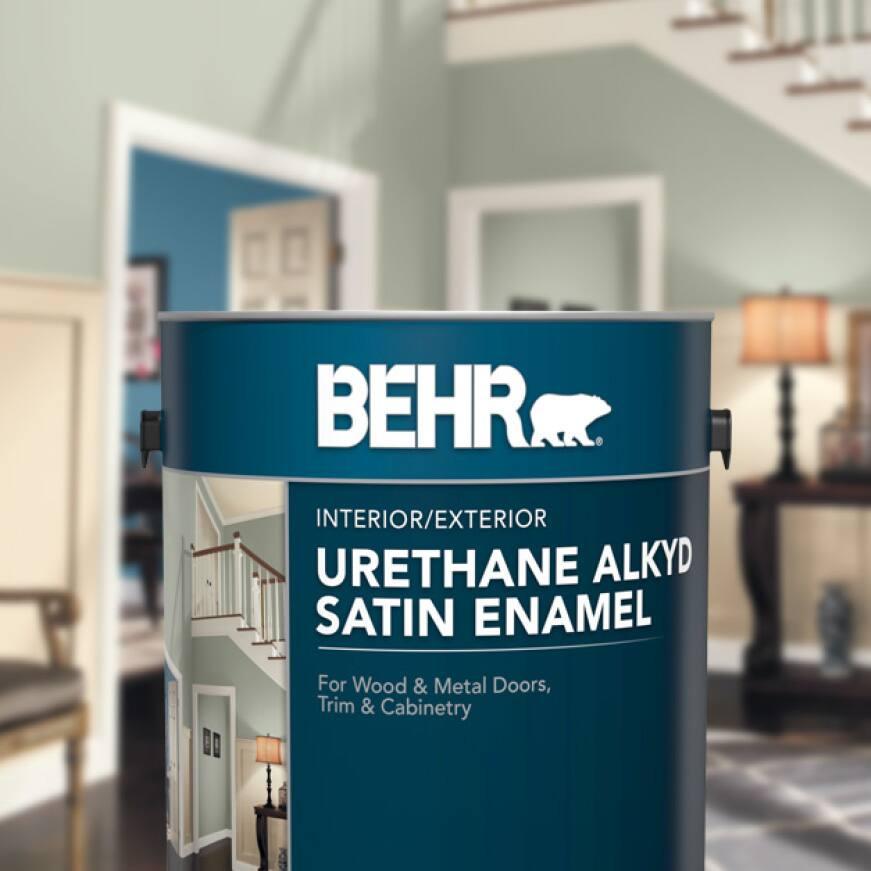 BEHR Urethane Alkyd Satin Enamel Can