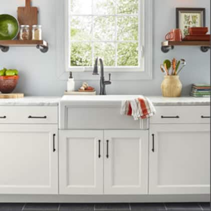 Kitchen cabinets painted in white